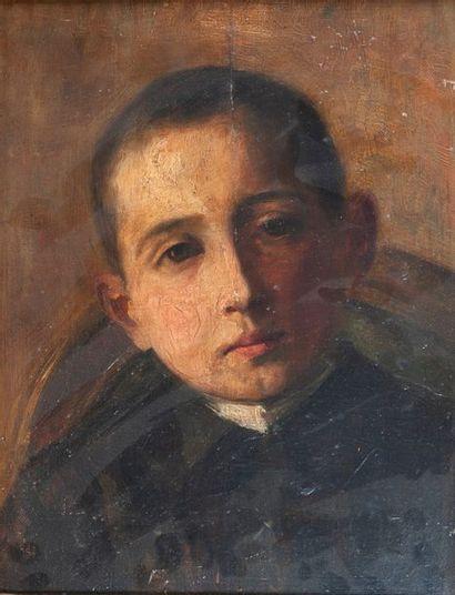 Ecole fin XIXème, jeune garçon,panneau 33 x 25 cm