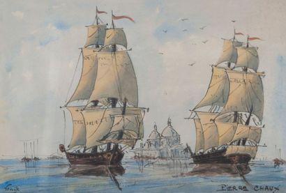 Pierre CHAUX, navires, Venise,aquarelle 28...