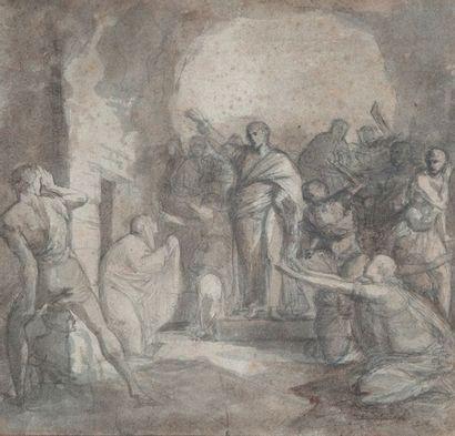 Ecole XIXème , L'apparition du Christ,encre23...