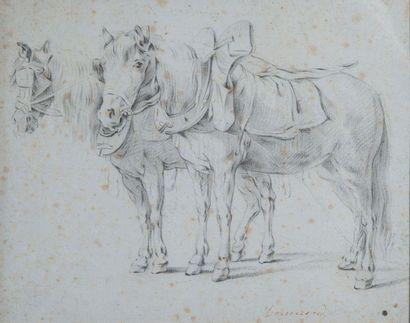 Ecole XIXème, Cheval de traie,crayon. 20...