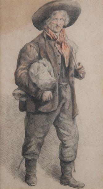 Ecole XIXème, le paysan,crayon de couleur. 30 x 18 cm