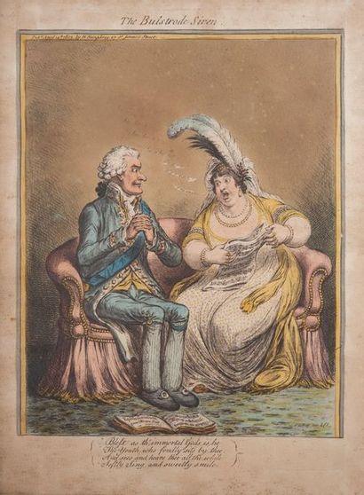 école anglaise, caricature,estampe. 39 x 29 cm