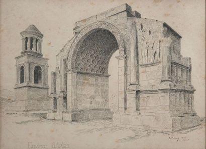 A.PETERS, Arc antique à Arles,signature, encre. 23 x 30 cm