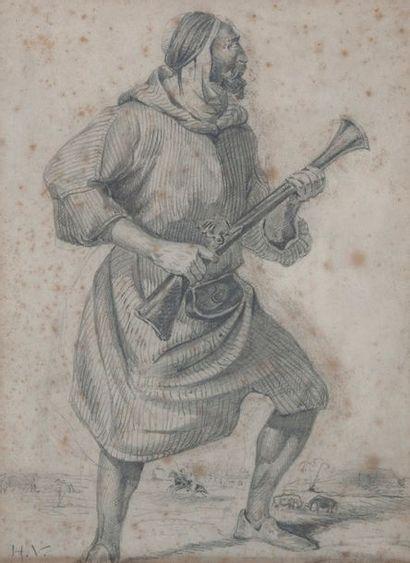 Horace VERNET ( attribué à), le marocain,crayon;...