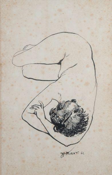 J.P MURAT, Nue,encre 1964. 36 x 23 cm
