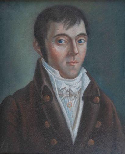 Ecole vers 1800, Homme à la redingote,pastel....