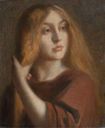 Ecole vers 1880, jeune fille aux longs cheveux,toile....