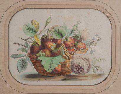 Ecole XIXème, fraises,estampe. 23 x 30 c...