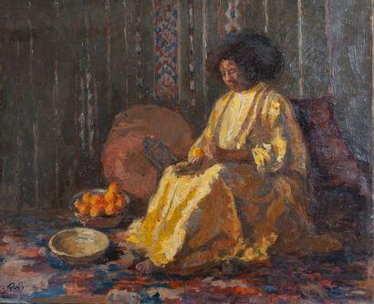 J PUG, Eplucheuse d'orange, Maroc,toile,...