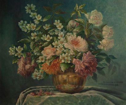 CHAPSAL ST MAXEN, le bouquet,toile. 46 x...