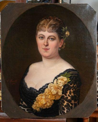 SPINETTI, Elégante,toile signée et datée1882....