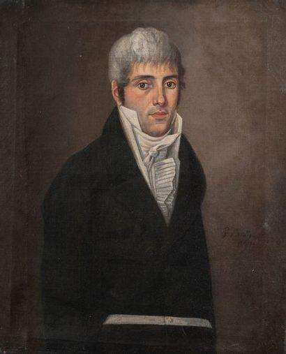Ecole vers 1801, Homme en buste,Toile. 62...