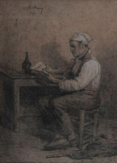 François BONVIN (1817-1887), la lecture,...