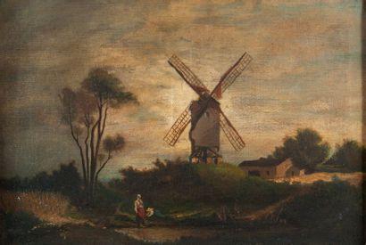 école Hollandaise XXème, Moulin,toile. 38...