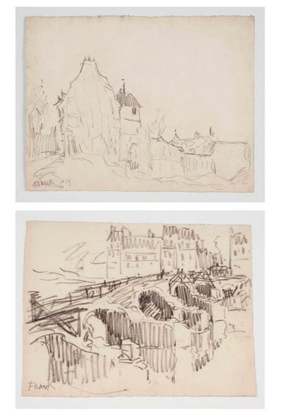 Frank WILL (1900-1950) Paysage - Le pont...