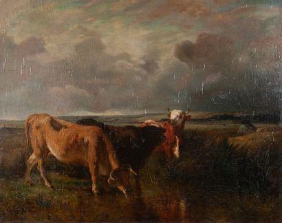 Constant TROYON ( 1810-1865), le troupeau,toile...
