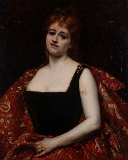 Ecole vers 1880, Femme au cachemire,panneau....