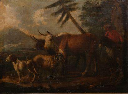 école du début XIXème , Le troupeau,toile...