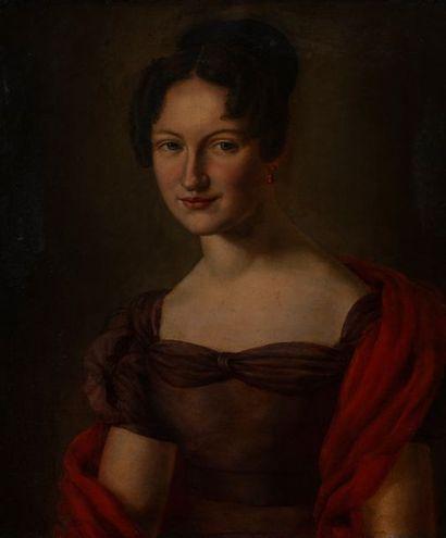 Ecole vers 1802, Portrait d'élégante,toile....