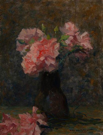 jean Gabriel Goulinat (1883-1972), rose,panneau...
