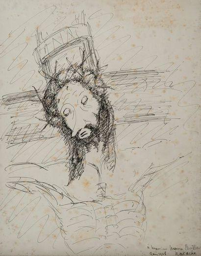 NACACHE, tête de Christ,encre signée en bas...