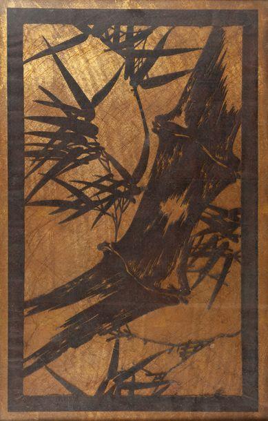 école contemporaine, Bambou,encre, découpage...