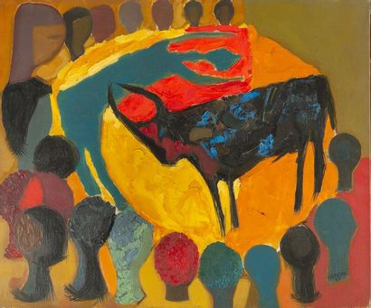 J.ALBERTINI, corrida,toile signée en bas...