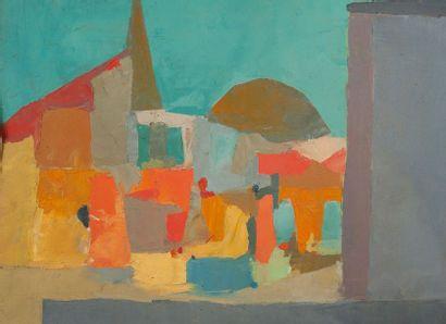 J.ALBERTINI, village,toile 46 x 55 cm