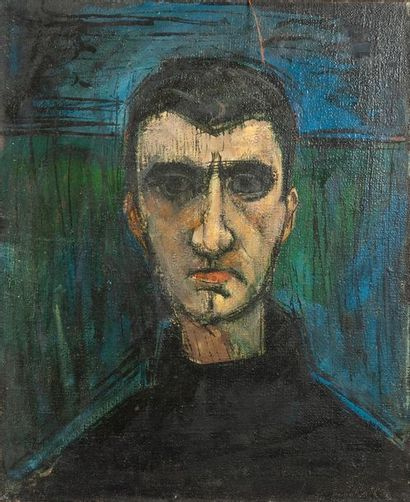 école moderne, Portrait d'homme,toile. 54...