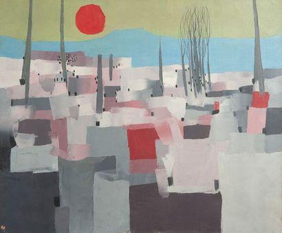 J.ALBERTINI, La casbah,toile. 46 x 55 cm...