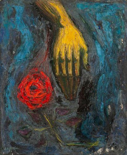 J.ALBERTINI, Rose et main,toile signé et...