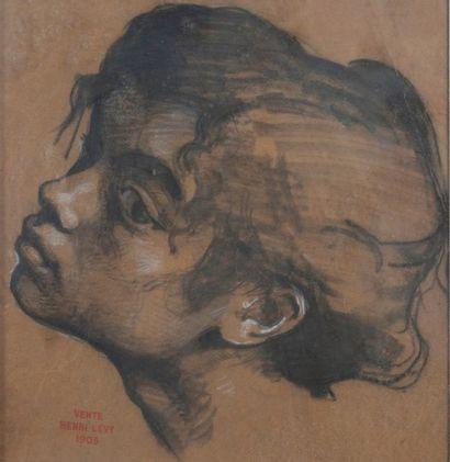 Henri Léopold LEVY ( 1840-1904), Visage,crayon,...