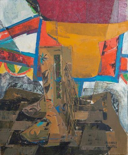 Michèle CASTEL, les bottes,toile 46 x 38...