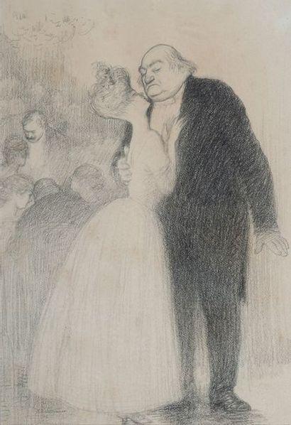 Charles LEANDRE (1862-1934), le baiser,crayon,...