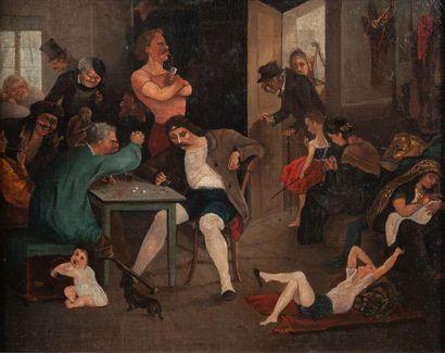 école moderne, La taverne,toile32 x 40 cm...