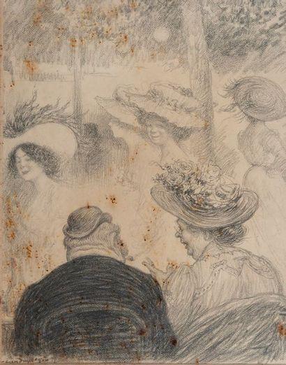 Charles LEANDRE (1862-1934), conversation,crayon,...