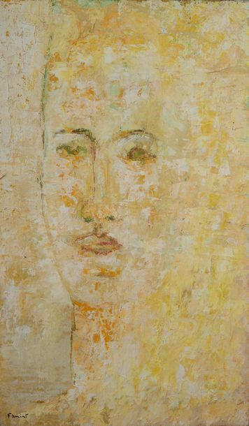 Pierre FANIEST, visage, 59,toile signée 55...