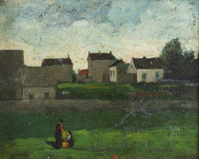 école moderne, Village,panneau 22 x 16 c...
