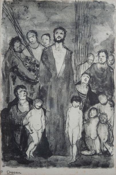 P.DESSAU, christ et petits enfants,estampe...