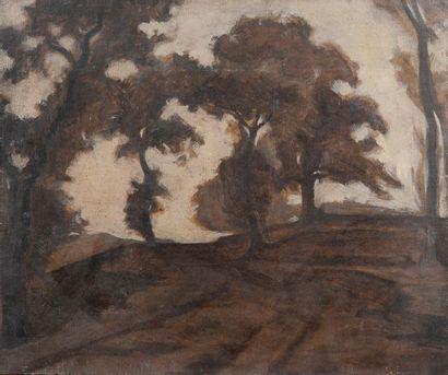 école moderne, grands arbres,toile. 46 x...