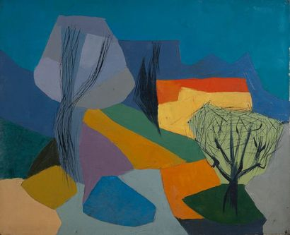 école contemporaine, Arbre,toile. 50 x 60...