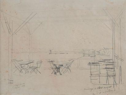 André MARCHAND, le café, Hyères 1938,crayon...