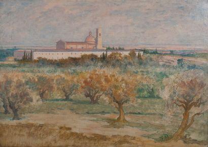 Ecole moderne, monastère,isorel. 46 x 65...