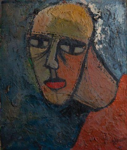 J.ALBERTINI, visage,toile signée et datée...