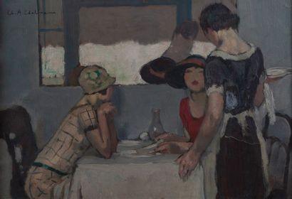 Charles EDELMANN (1879-1950), le restaurant,toile...
