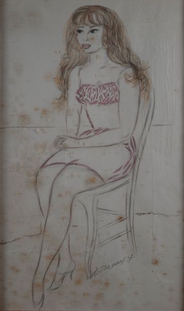 louis TOUCHAGUES (1893-1974), Femme assise,crayon...