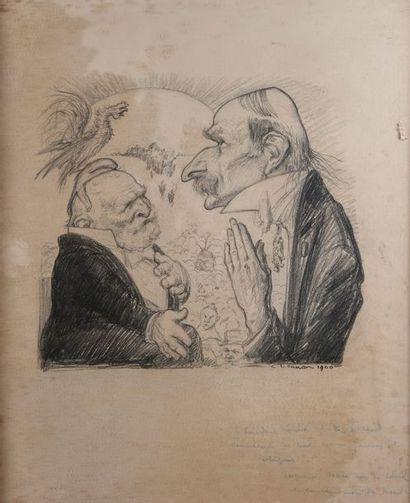L.CANON, la conversation,estampe, 1900, envoi...