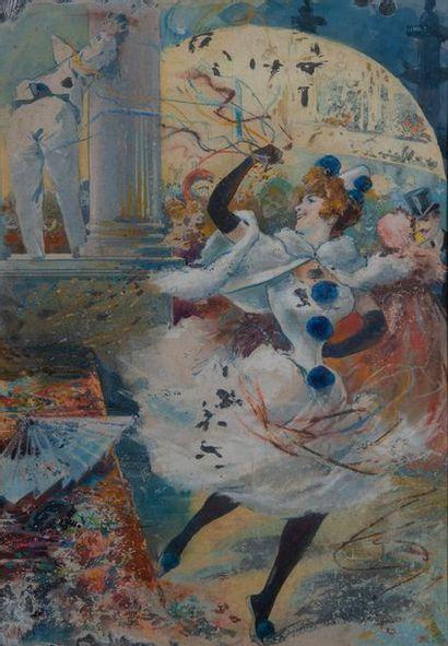 jules CHERET entourage de, Colombine,aquarelle....