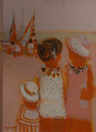 MERGREY, plage,toile signé. 60 x 45 cm