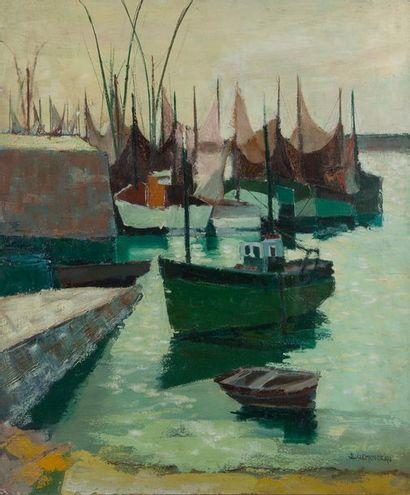 JL CLEMENCEAU, le port,toile. 65 x 54 cm...